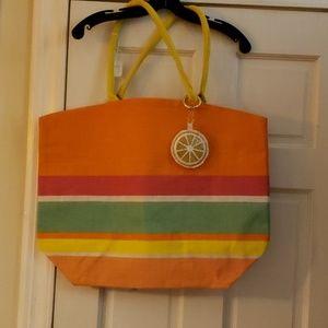 TWO'S COMPANY Stripe Tote Bag